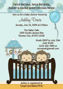 Monkey baby shower invitations zazzle twins monkey baby shower invitation crib blue cj b filmwisefo