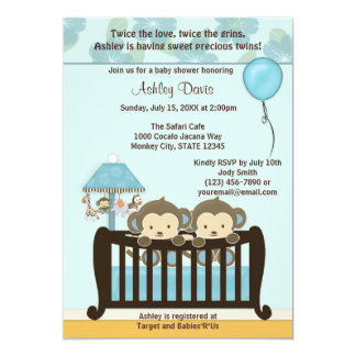 TWINS Monkey Baby Shower Invitation Crib BLUE CJ-B