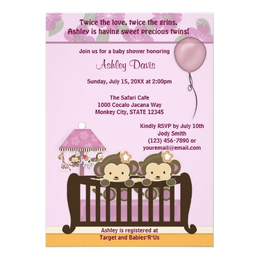 TWINS Monkey Baby Shower Invitation Crib ORCHID