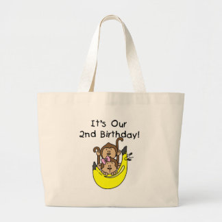 Twins Monkey Boy and Girl 2nd Birthday Canvas Bags