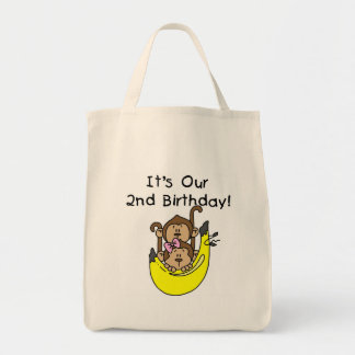 Twins Monkey Boy and Girl 2nd Birthday Tote Bag