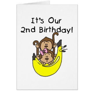 Twins Monkey Boy and Girl 2nd Birthday Greeting Cards