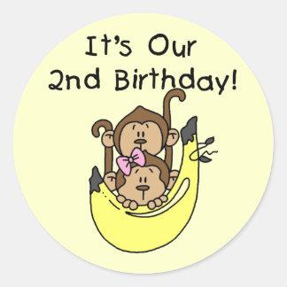 Twins Monkey Boy and Girl 2nd Birthday Stickers