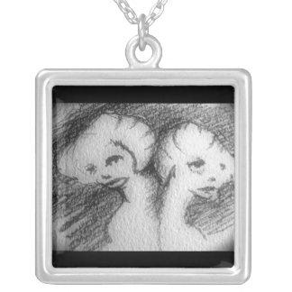 twins square pendant necklace