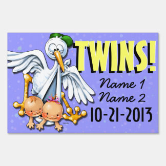 Twins. New baby announcement. Stork. Customizable Yard Sign