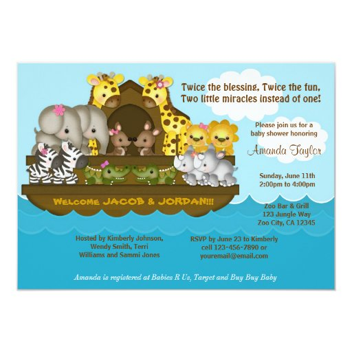 TWINS Noah39;s Ark Baby Shower Invitation  Zazzle