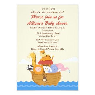 TWINS! Noah's Ark Boy or Girl Baby Shower Card