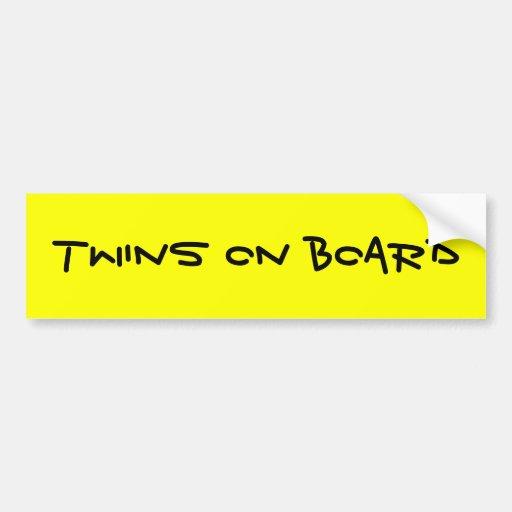 TWINS ON BOARD CAR BUMPER STICKER