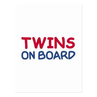 Twins on board postcard