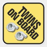 Twins on Board - Twin Turbo Square Stickers