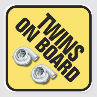 Twins on Board - Twin Turbo Square Stickers