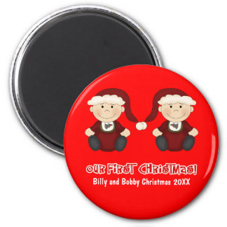 Twins:  Our First Christmas Customizable Refrigerator Magnet