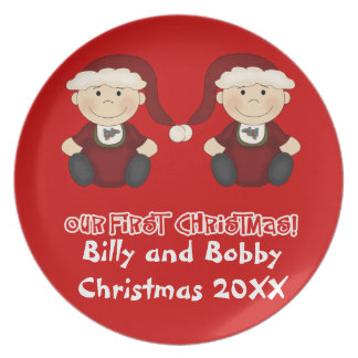 Twins:  Our First Christmas Customizable Party Plate