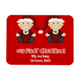 Twins:  Our First Christmas Customizable Rectangular Magnet