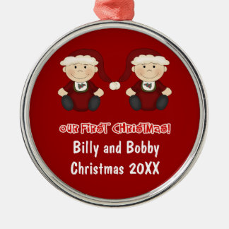 Twins:  Our First Christmas Customizable Round Metal Christmas Ornament