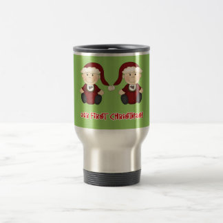 Twins:  Our First Christmas Customizable Travel Mug