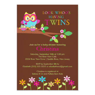 Twins Owl Baby Shower Invitations