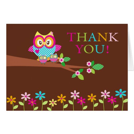 Twins Owl Thank You Note Card