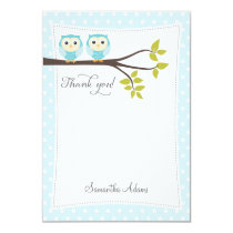 Twins Owls Thank You Card (Blue)