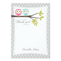 Twins Owls Thank You Card (Gray)