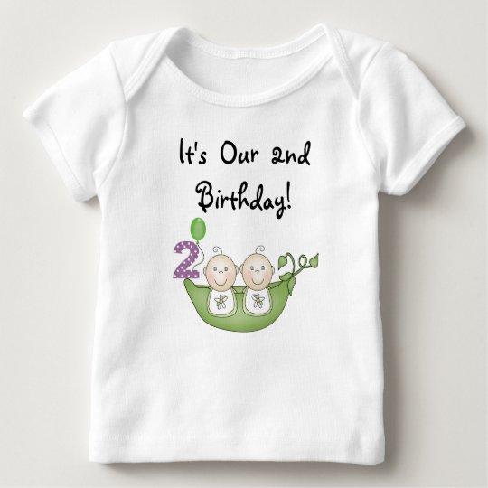 2fe8a69e2d6 Twins Peas in a Pod 2nd Birthday Tshirt | Zazzle.com