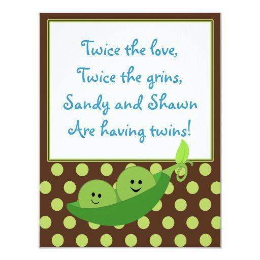 "Twins Peas in a Pod Baby Shower Invitation 4.25"" X 5.5"" Invitation Card"