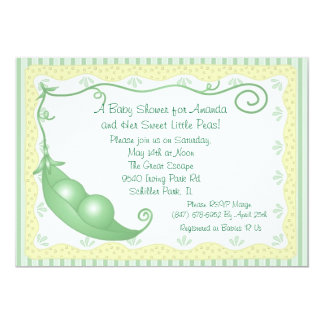Twins Peas in a Pod Baby Shower Invitations