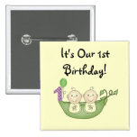 Twins Peas in a Pod  First Birthday Buttons
