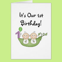 Twins Peas in a Pod  First Birthday Card