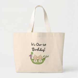 Twins Peas in a Pod  First Birthday Large Tote Bag