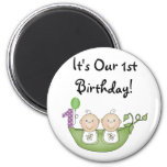 Twins Peas in a Pod  First Birthday Refrigerator Magnets