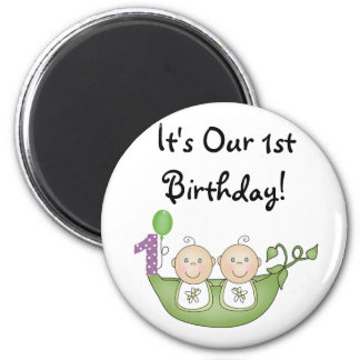 Twins Peas in a Pod  First Birthday Magnet