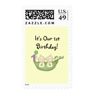 Twins Peas in a Pod  First Birthday Postage Stamps