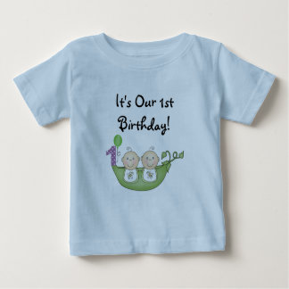 Twins Peas in a Pod  First Birthday T Shirt