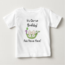 Twins Peas in Pod First Birthday Tshirt