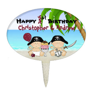 Twins Personalized 1st Birthday Pirate Cake Topper