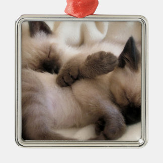 Twins Pet Cat Cute Siamese Kitten Metal Ornament