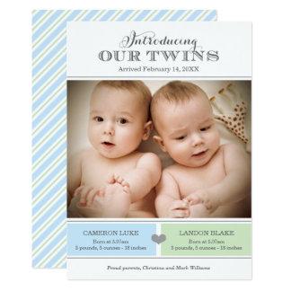 Twins Photo Birth Announcement Card | Baby Boys
