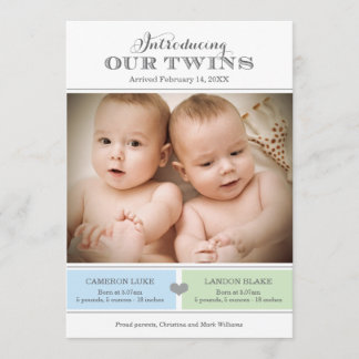 Twins Photo Birth Announcement Card | Baby Boys
