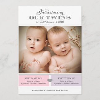 Twins Photo Birth Announcement Card | Baby Girls