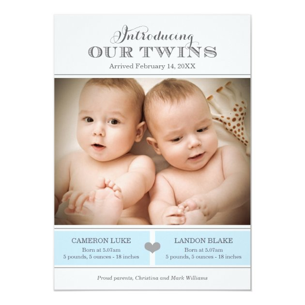 Custom Baby announcement Invites Templates for Twins Babyfavors4u