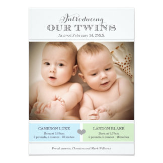 Twins Photo Birth Announcement | Two Baby Boys