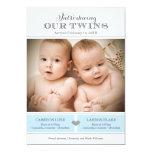 "Twins Photo Birth Announcement | Two Baby Boys 5"" X 7"" Invitation Card"