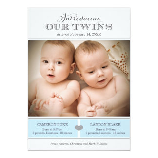 "Twins Photo Birth Announcement | Two Baby Boys 5"" X 7"" Invitation Card"