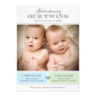 Twins Photo Birth Announcement Two Baby Boys