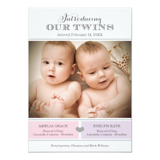 "Twins Photo Birth Announcement | Two Baby Girls 5"" X 7"" Invitation Card"