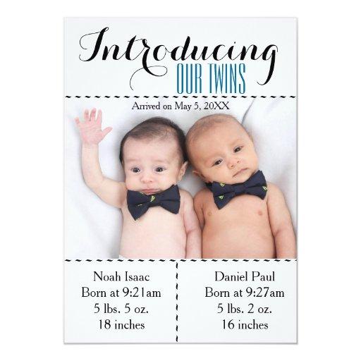 Twins Photo Birth Announcment Twin Boys Card