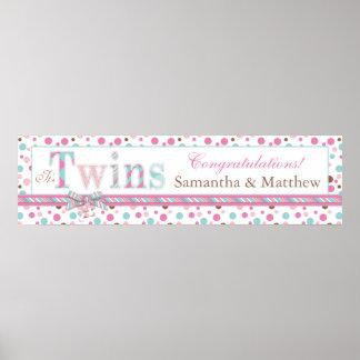 TWINS Pink Aqua Brown Dots Baby Shower Banner Print