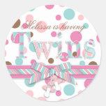 Twins Pink & Aqua Polka Dots Baby Shower Round Stickers