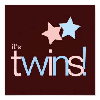Twins Pink Blue Brown Baby Shower 5.25x5.25 Square Paper Invitation Card